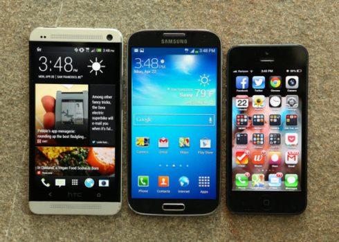 htc one apple iphone 5 samsung galaxy s4